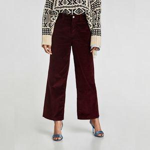 Zara Corduroy High Waisted Wide Leg Pants Size 4